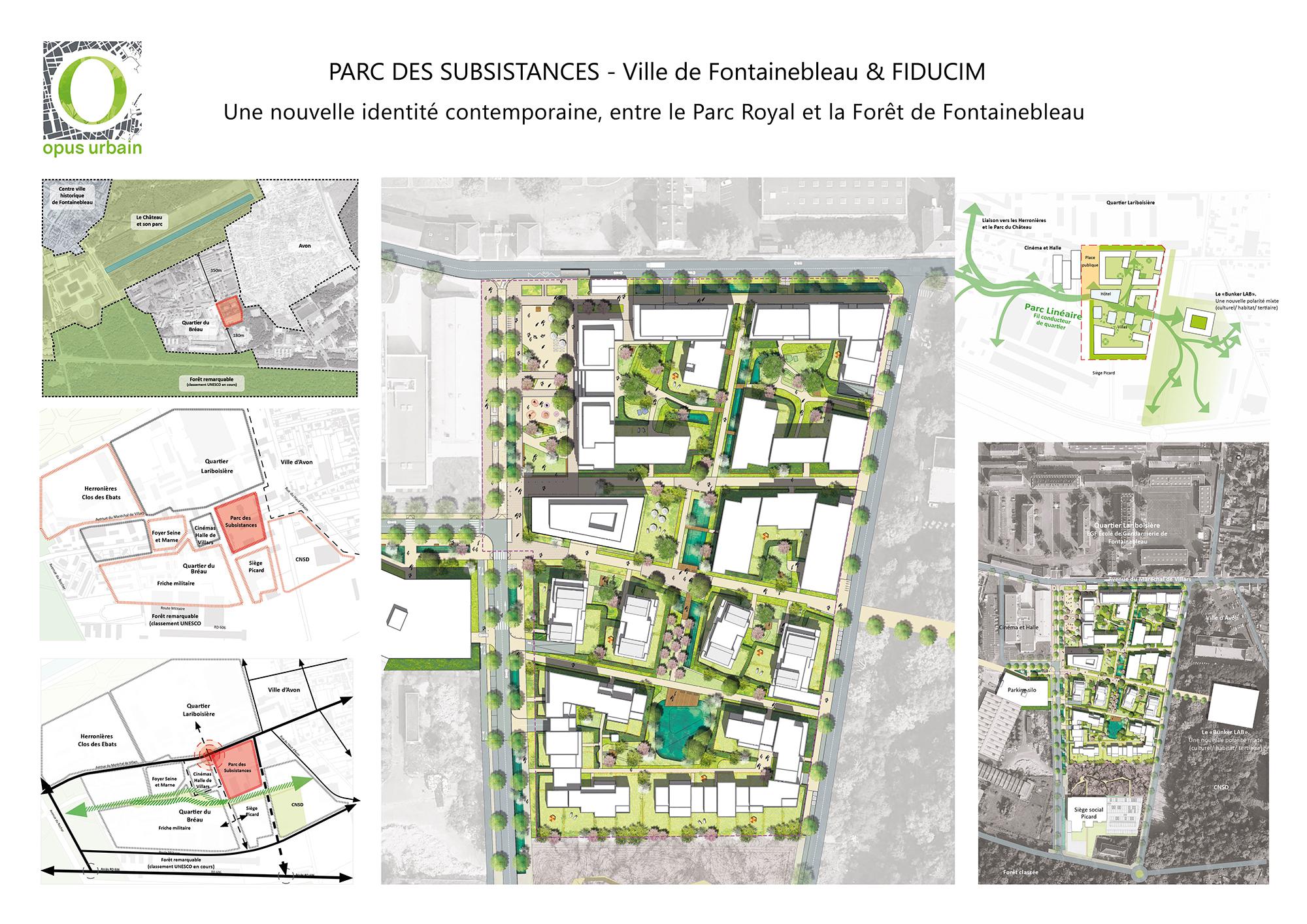Parc des Subsistances. OPUS URBAIN porte la Maîtrise d'oeuvre urbaine de la future polarité sud de la Ville de Fontainebleau